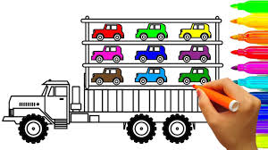 Learn Colors For Kids With Car Carrier Monster Truck Coloring Book Pages Fun Video