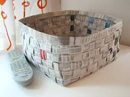 Basket Made Of Newspapers Recycle Newspaper Paper Crafts