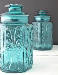 teal glass canisters vintage kitchen canisters atterbury