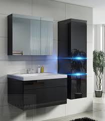 badmöbel set prestige 1 schwarz hochglanz lackiert keramik waschbecken badezimmer led beleuchtung badezimmermöbel lack spiegelschrank