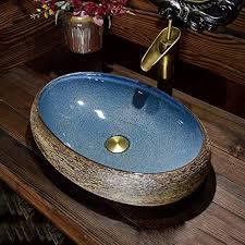 apenchren badezimmer blau gehärtetes glas waschbecken