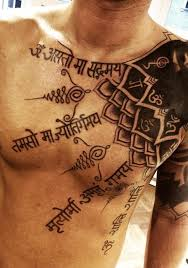 Mantra Chest Tattoo For Men