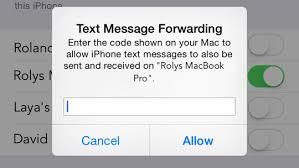 OS X Yosemite SMS Verification