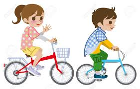 Two Kids Riding Bicycle