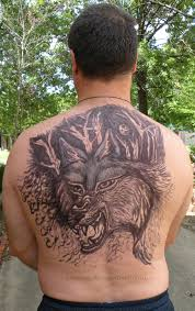 Man With Wolf Back Tattoo For Men