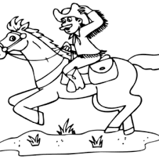 Cowboy Color Page AZ Coloring Pages