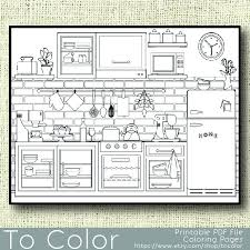 Printable Kitchen Coloring Page For Adults PDF JPG Instant Download Book