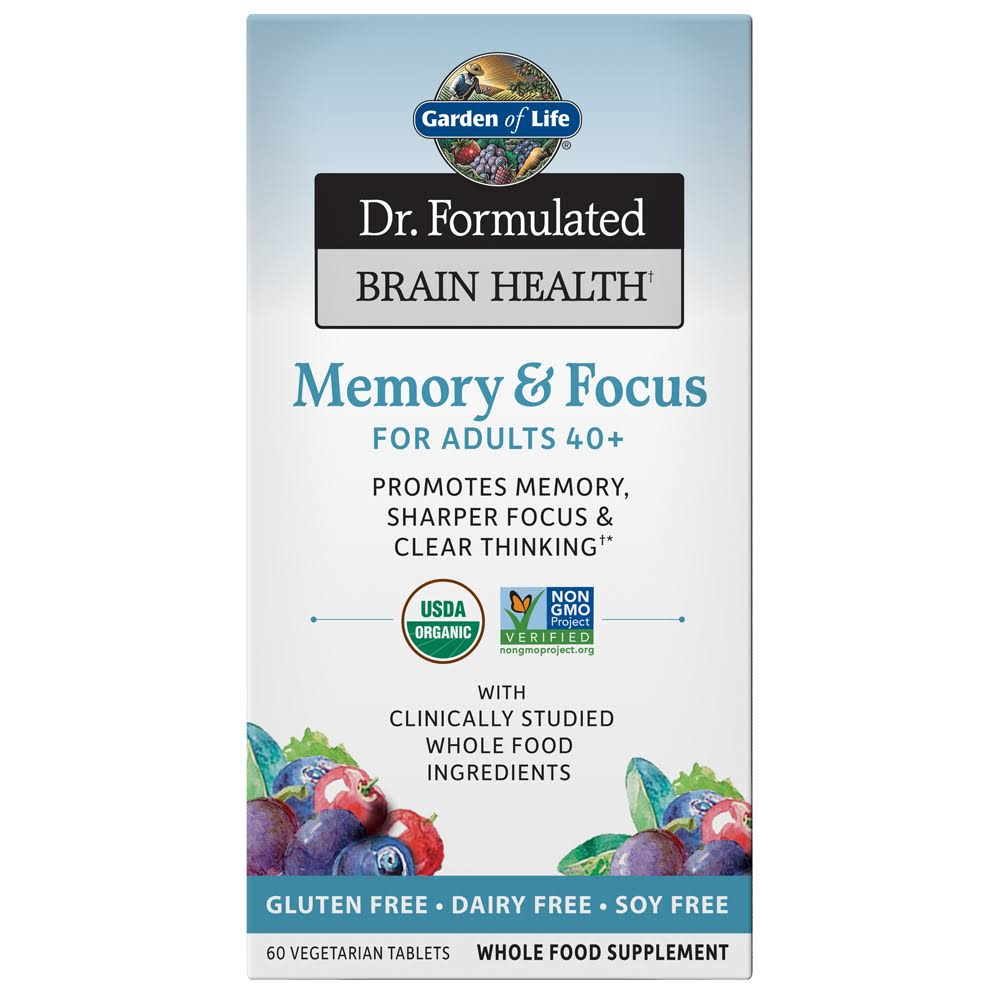 Garden of Life Dr. Formulated Brain Health Memory & Focus, for Adults 40+, Tablets - 60 tablets