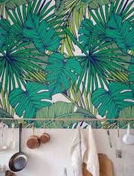 Palm Monstera Leaf Wallpaper Removable