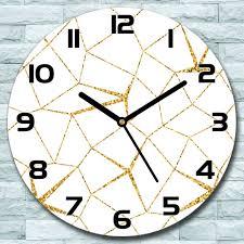 wanduhr aus glas rund fi 30 mosaik gold weiß quarz deko
