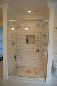 3x6 subway tile shower with hex marble floor subway tile