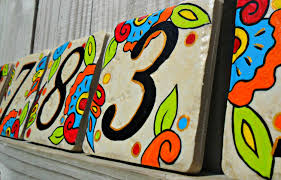 painted house numbers address tiles