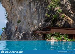 100 Infinity Swimming Woman Relaxing In Pool Looking At View Stock Image