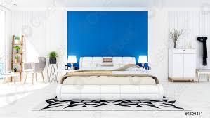 foto auf lager weiß modernes zeitgenössisches schlafzimmer interieur in blau und weiß thema farbe mit meerblick terrasse 3d rendering