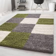 hochflor shaggy teppich wohnzimmerteppich kariert langflor rechteckig grün