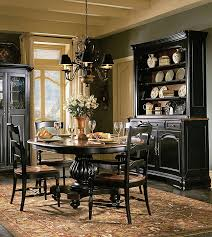 Indigo Creek Black Round Pedestal Dining Room Table Set