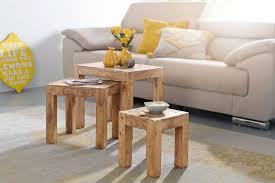 finebuy 3er set satztisch massiv holz akazie wohnzimmer tisch landhaus stil beistelltisch dunkel braun naturholz