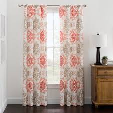 mainstays microfiber print foam back single panel curtains coral
