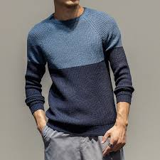 Retro Fashion Men Round Neck Collar Sleeve Cuffs Head Fight Color Sweater Slim Winter Knitting Man