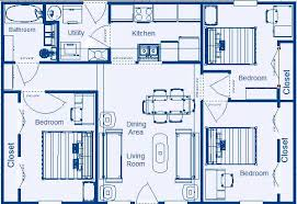 Home Floor Plan 988 Sqft 3 Bedroom 1 Bathroom Mirror Image