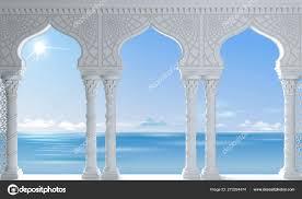 ostmeer alten arabischen weißen arkade stockfotografie