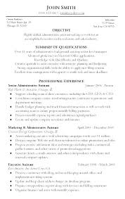 Resume Objective Summary Examples Samples Of Executive Assistant Example Sample Com