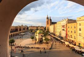 Main Square With St Marys Basilica Krakow Poland