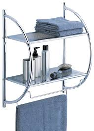 Bathroom Wall Cabinets With Towel Bar by Amazon Com Organize It All 2 Tier Shelf With Towel Bars Home