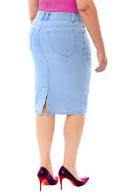 360 stretch knee length pencil skirt in sky blue u2013 svoboda