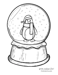 Snow Globe Coloring Page And