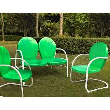 Details About Outdoor Furniture Set 3 Piece Retro Green Metal Lawn Yard  Patio Chair Loveseat
