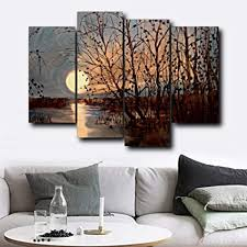gyss 4 platten abstrakte baum wand kunstwerk sonnenaufgang