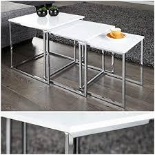 lnxp designer couchtisch tisch beistelltisch zigon 3er set chrom in weiß hochglanz