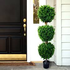 Replica 41 Inch Boxwood Topiary With White Planter UV Resistant