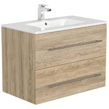 badezimmer waschtisch mit 80cm keramik waschbecken abuja 02 in eiche h