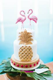 Picture Of The Wedding Cake Was An Embellished One With Pink Flamingo Toppers