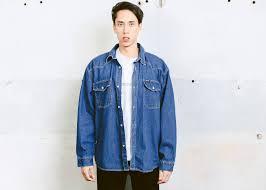 90s Mens Oversized Shirt Vintage Long Sleeve Denim Everyday Clothing Trucker Jacket Menswear Size XL Extra Large