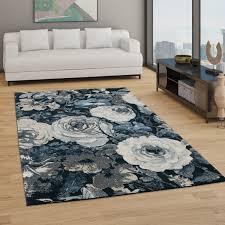 teppich wohnzimmer kurzflor boho design mit modernem floralem muster blau weiß