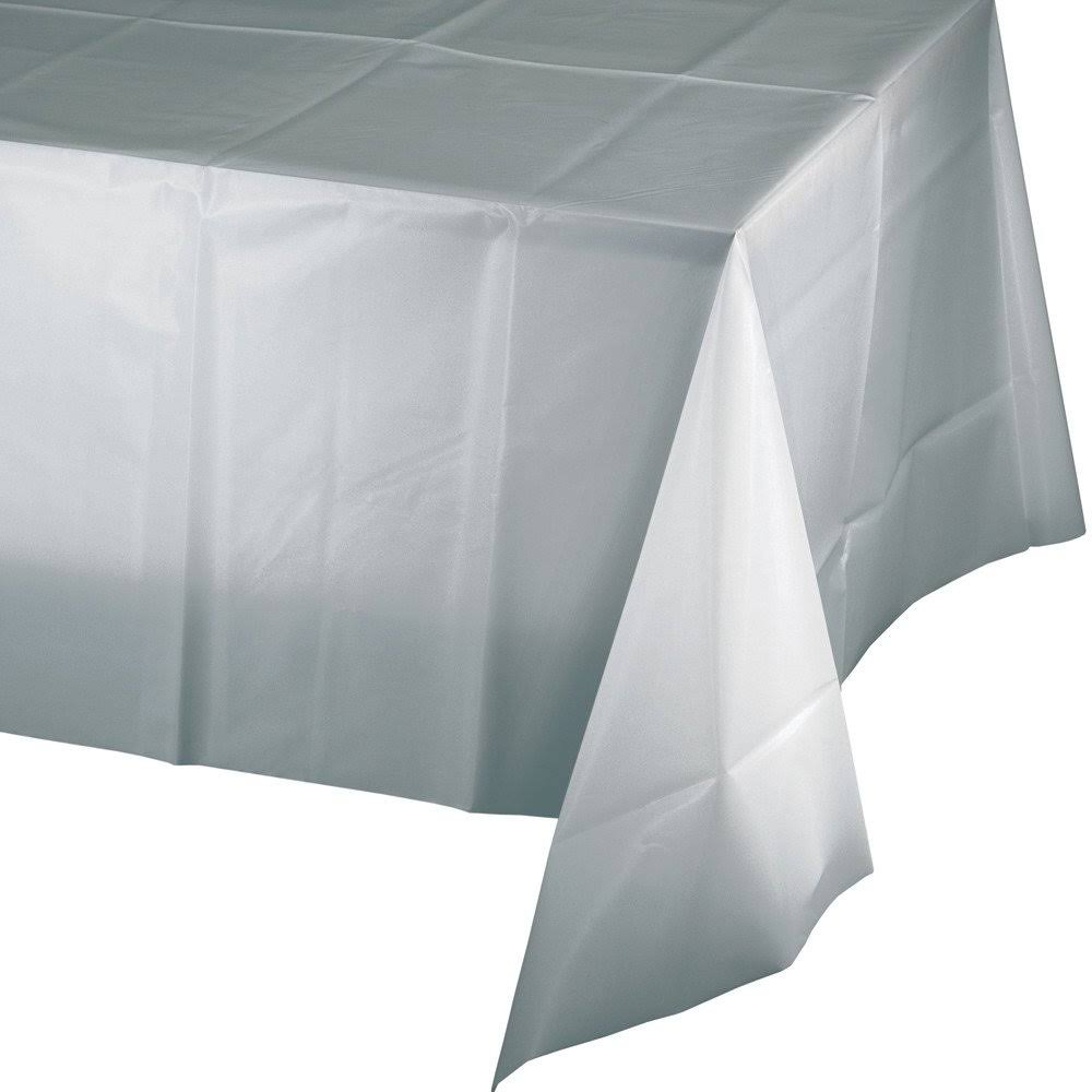 Creative Converting Plastic Tablecover Shimmering Silver