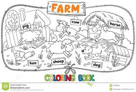 Adult Great Coloring Book Farm Animals Stock Vector Image Baby Board Chicken Cow Dog Cartoon