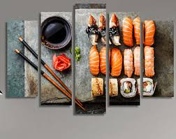Japanese Food Sushi Plate Decor Wall Art