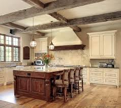 Kitchen Of The Week An Antique White With Rustic Beams And A Cherry
