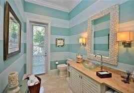 beach bathroom decor with blue horizontal striped and cool wall
