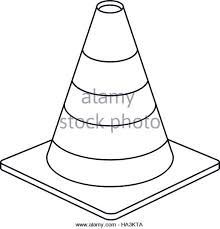 traffic cone warning sign design outline Stock Image