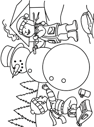 Kids Making Snowman Coloring Pages