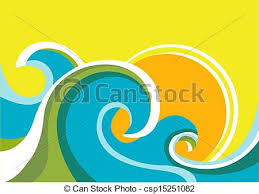 Nature Seascape Poster With Sea Waves And Sunvector Color Background