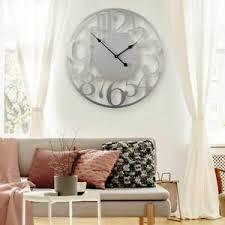 wanduhr alu dibond silbereffekt wohnzimmer 70 cm deko
