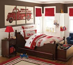 Boys Bedroom: Fair Boy Red Fire Truck Bedroom Decoration Design ...