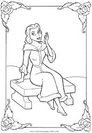 Belle Beauty And The Beast Color Page Disney Coloring Pages Plate