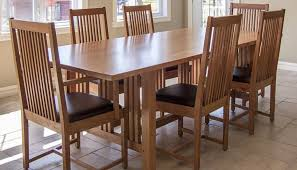 Awesome 7 Pieces Cherry Mission Style Dining Room Set With Long Table And Chairs